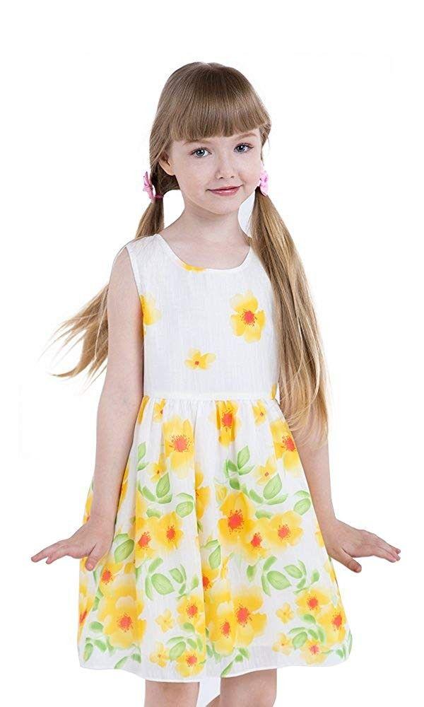 98fe80d5a81 Little Girls Floral Dresses Yellow Sunflower Dress Summer Casual Dress for  Girls and Kids Size 3