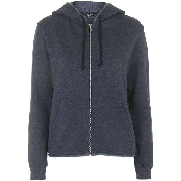 TOPSHOP PETITE Zip Hoodie ($40) ❤ liked on Polyvore featuring tops, hoodies, navy blue, petite, zippered hooded sweatshirt, zipper hoodies, petite tops, fleece lined hoodie and navy blue hooded sweatshirt