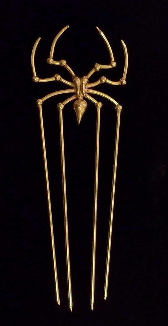 Spider Gothic Hair Comb Hand Made in Broze