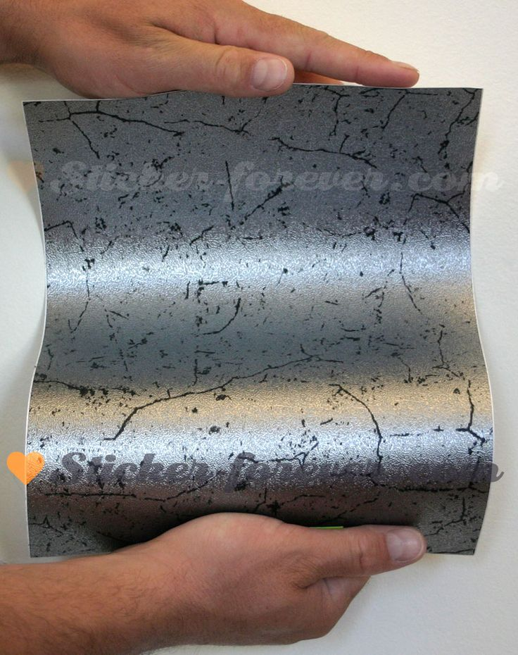 Sticker - Sticker vinyle autocollant écorce métallisée argentée au mètre