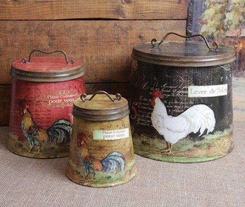 Shabby Country Chic Rooster Tin Canister Set Home Decor By