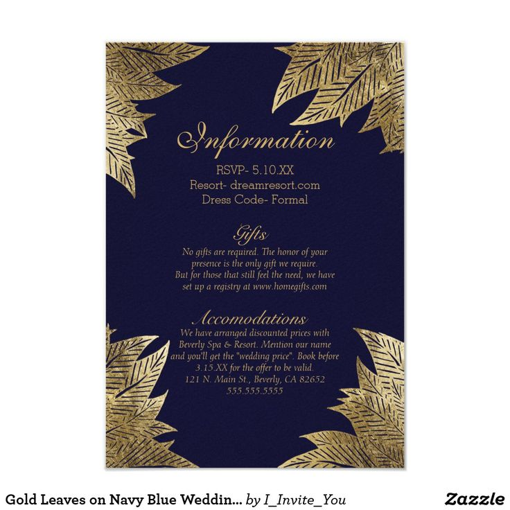 Gold Leaves on Navy Blue Wedding Information