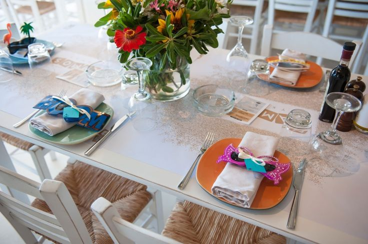 Colourful sunnies on dinner set up!