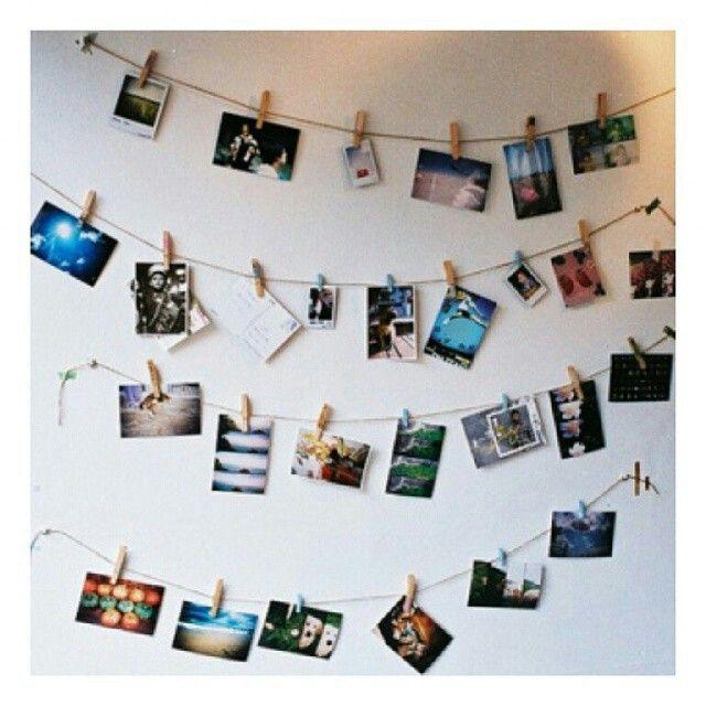 bottoni idee decorative originali : Ecco un modo per appendere le foto. home decor Pinterest