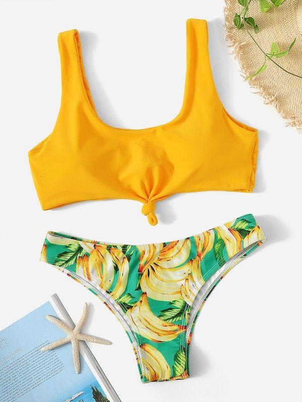 3ca689b533 Knot Front Top With Random Banana Print Bikini -SHEIN(SHEINSIDE ...