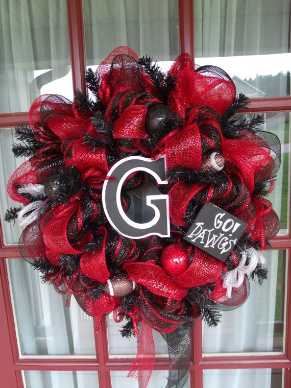 University of Georgia Bulldog Deco Mesh Wreath by CrazyboutDeco, $69.00