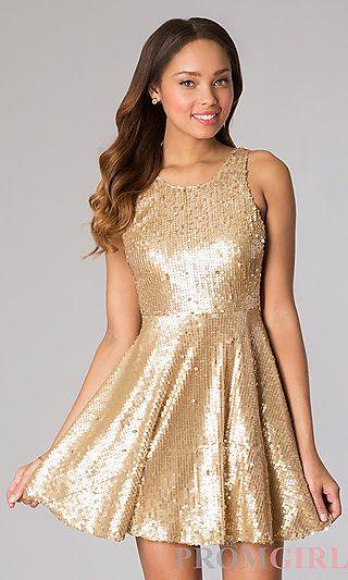 Short Sleeveless Sequin Dress at PromGirl.com