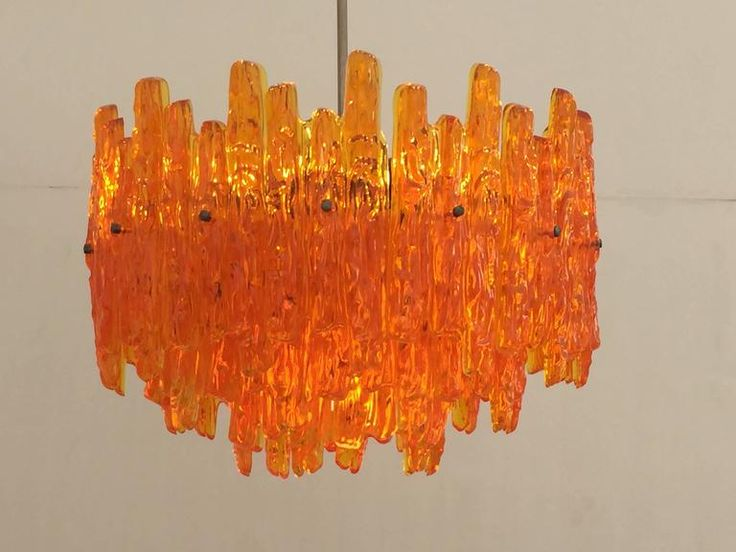 Orange Acrylic Icicle Chandelier in the Manner of Kalmar 2