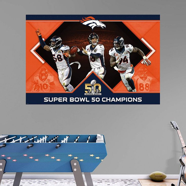 Denver Broncos Super Bowl 50 Champions Mural Wall Decal by Fathead, Multicolor