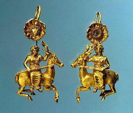 Pair of Greek Gold Earrings with a Figure of Artemis