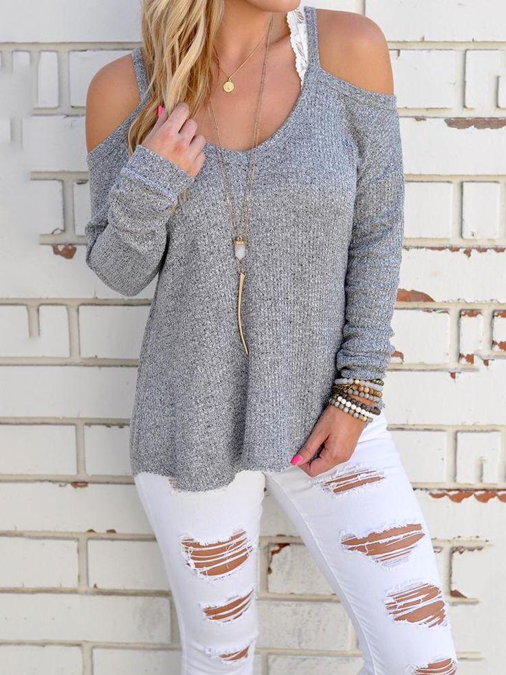Knit Cold Shoulder Blouse One Shoulder Sexy Women Closet #woman #top #blouse
