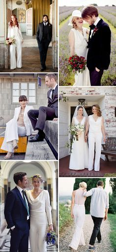 Style Inspiration: Brides in Trouser Suits and Jumpsuits | www.onefabday.com