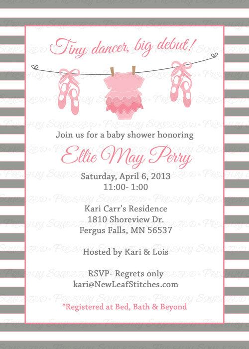 Ballet Baby shower Invitation baby girl by freshlysqueezedcards