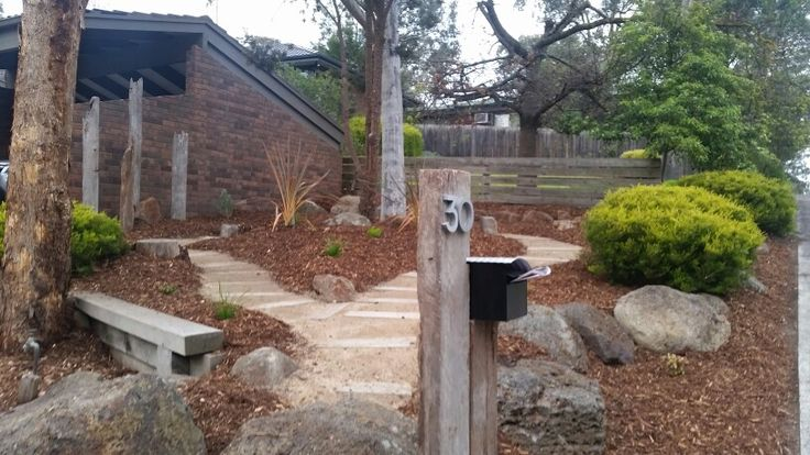 New front yard. Recycled railway sleepers. Granitic sand. Australian natives. New letterbox.
