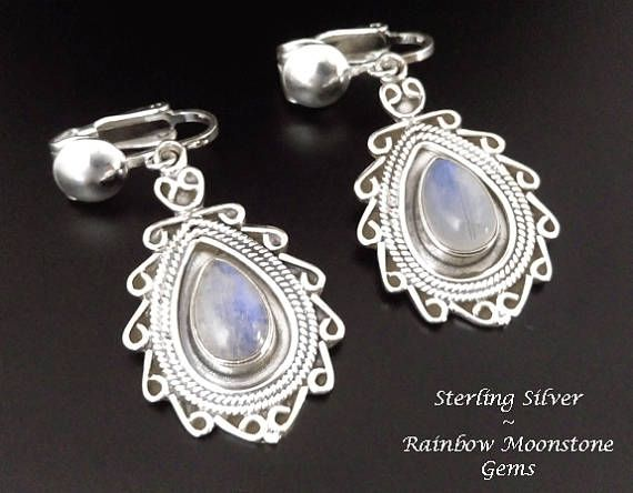 Clip On Earrings: Stunning Rainbow Moonstone Gems in 925 Sterling Silver #cliponearrings #moonstone #moonstoneearrings #silverearrings