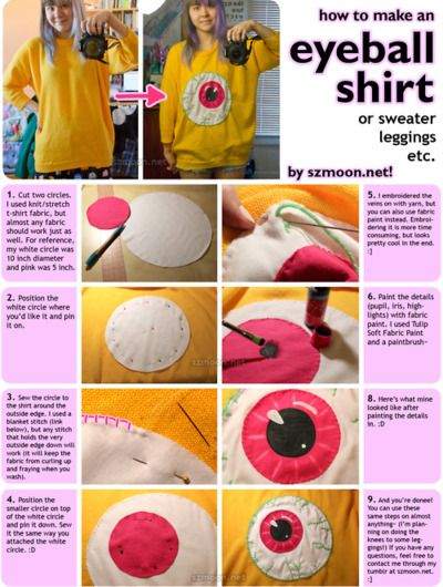 How to Make an Eyeball Shirt - yes yes yes~~ I wanna make a shirt with several smaller eyes on it and bows and creepy cute it up! XD