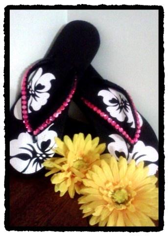 Black Flip Flops with pink rhinestones