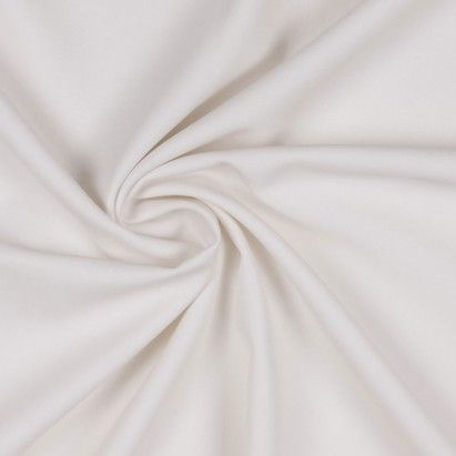 Classy and sophisticated, this gorgeous ivory fabric is definitely a sight for sore eyes. Sent to Mood all the way from Italy, we have a light-weight, tightly woven, polyester-viscose suiting fabric with a nice four-way stretch due to the addition of lycra. This Italian fabric is immensely smooth, contains a soft drape, and shows depth in the light. Use this flexible polyester fabric to create stylish career wear including ravishing suits, stylish dresses, phenomenal bottoms, gorgeous…
