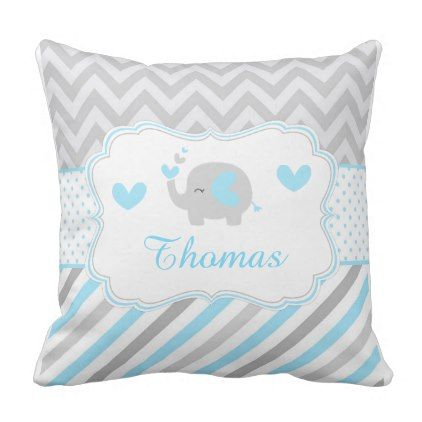 Cute Blue and Gray Baby Elephant Throw Pillow  $34.65  by KlouiseDigiParty  - cyo customize personalize diy idea