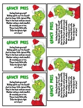 How The Grinch Stole Christmas Grinch Pill Labels & Greate