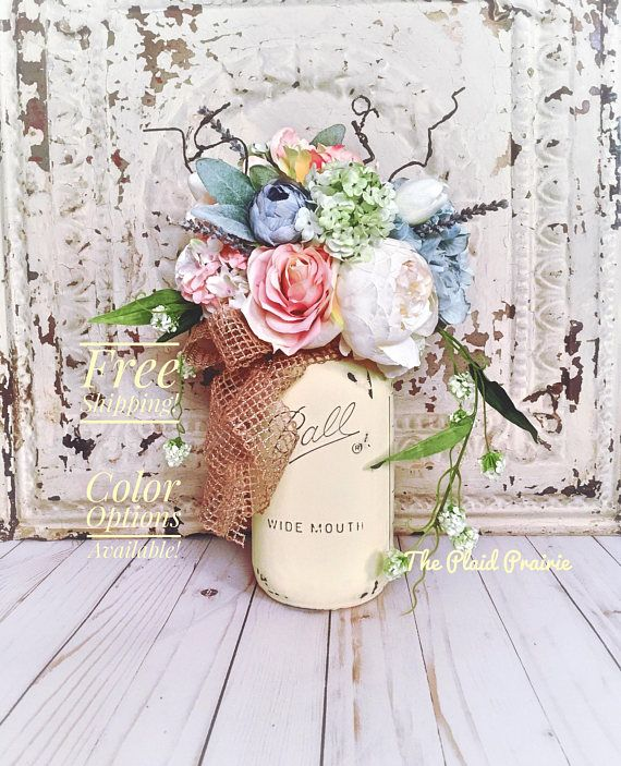 Mason Jar Decor, French Country Decor, Floral Arrangements, Shabby Chic Decor, Mason Jar Centerpiece, Wedding Decor, Spring Decor