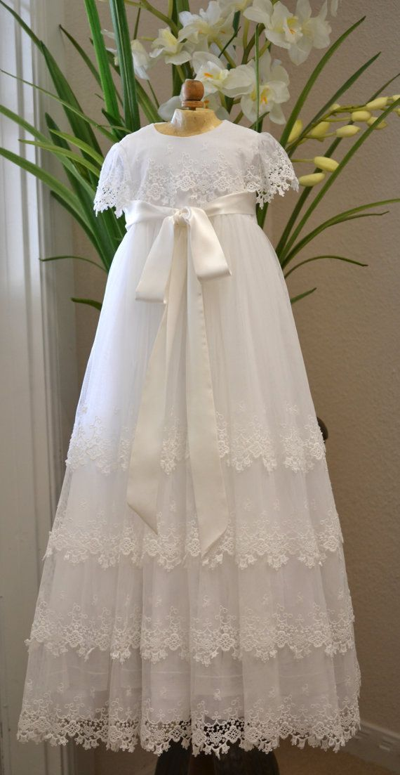 Christening Gown, Baptism Gown, Heirloom Gowns, Dedication Gown, Blessing Gown - White, Girls 3-6 months