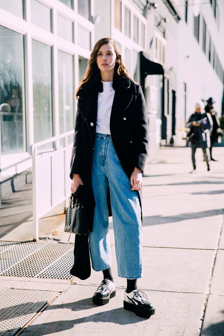 INSPIRATION - showing how to take summer denim through to autumn.  New York Fashion Week Fall 2016 Street Style - NYFW Fall 2016