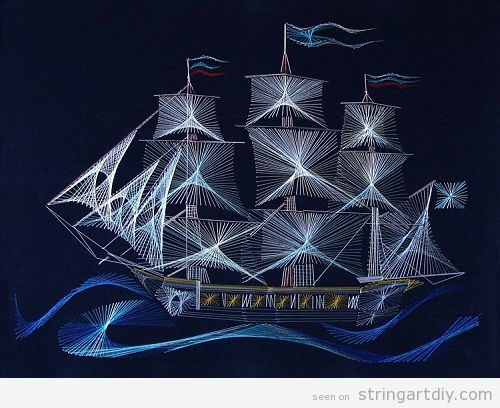 Sailing Ship String Art