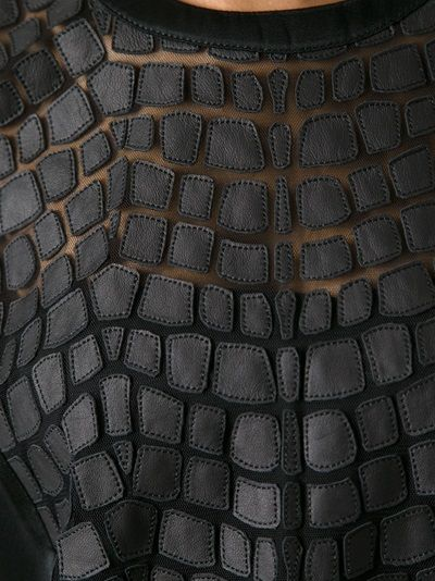 HELMUT LANG - Black lamb skin patchwork top