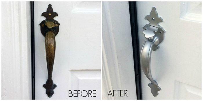 20 Creative Ways To Use Silver Spray Paint Front Door Hardware Door Handle Diy Door Handles