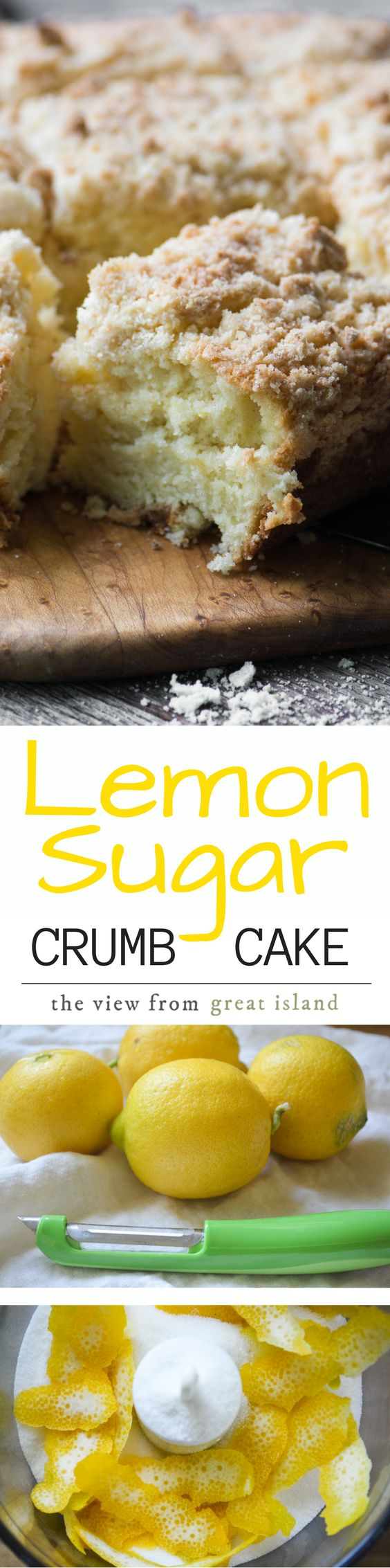 Lemon Sugar Crumb Cake is a mile high crumb cake with a delicate fresh lemon flavor, it's made with my special lemon infused sugar ~ an easy technique for punching up the citrus flavor in your favorite recipes! |breakfast | Mother's Day | coffee cake | pound cake | citrus