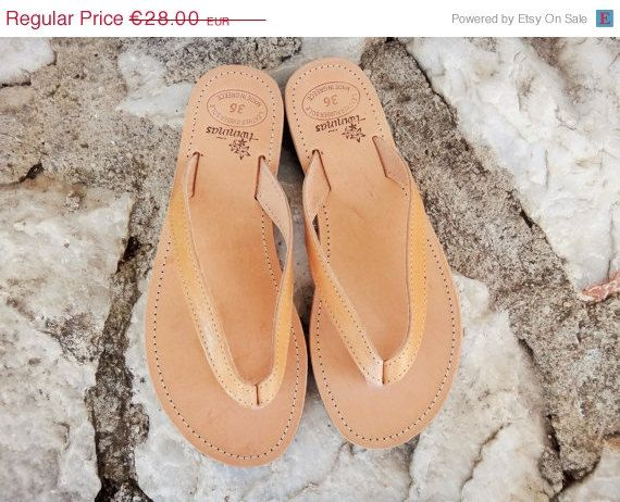 ON SALE Greek Artisan Handmade Natural Color Leather by Twininas