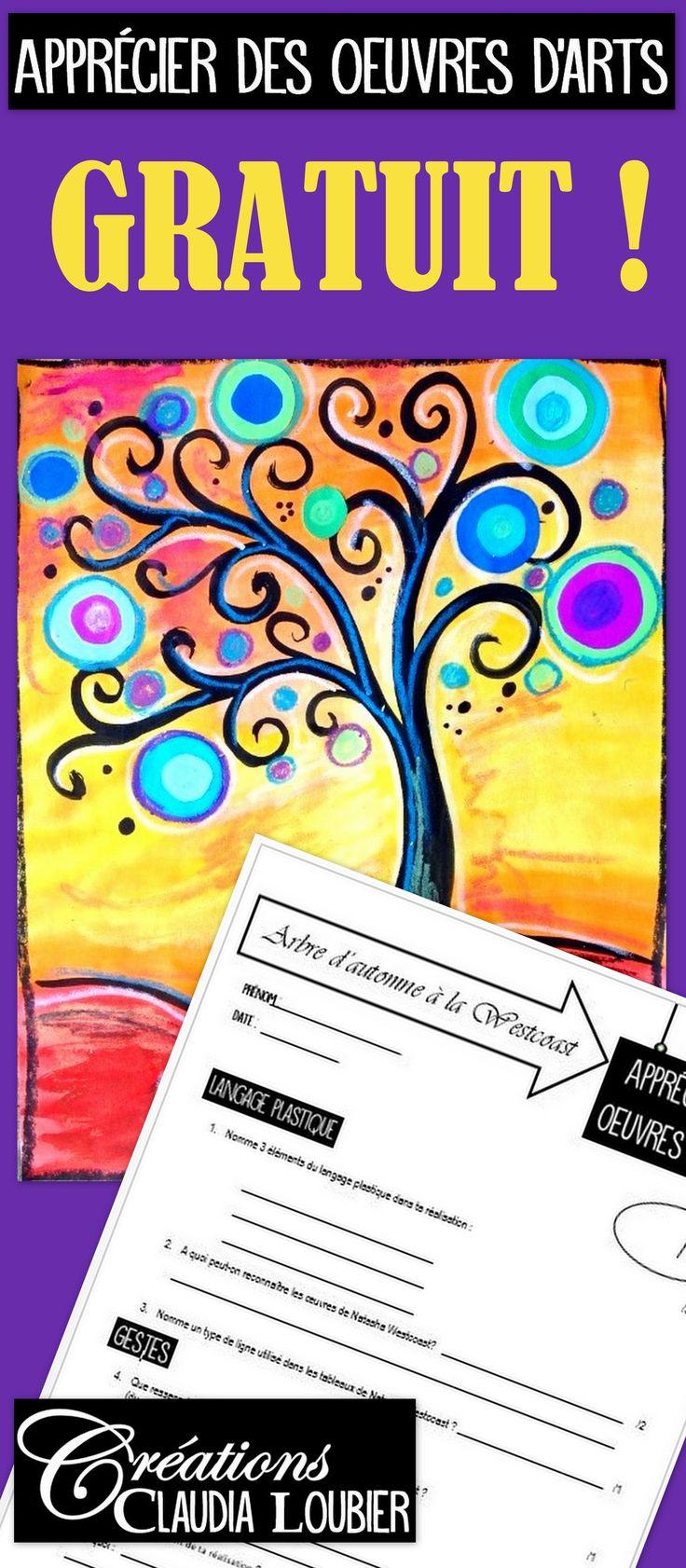 """Voici un questionnaire pour évaluer la compétence: """"Appécier les oeuvres d'arts"""". Des questions spécifiques pour apprécier les oeuvres de Natasha Wescoat, ainsi que de la réalisation faite par l'élève. Voyez aussi le projet """"Arbre à la Westcoast"""" sur ma boutique, pour la démarche complète, avec photos et grille d'évaluation."""