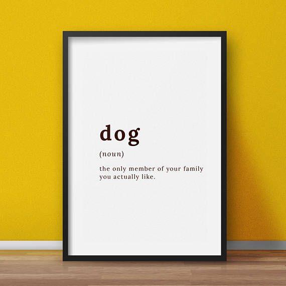 Funny dog definition Dog lovers wall art funny Dog wall art