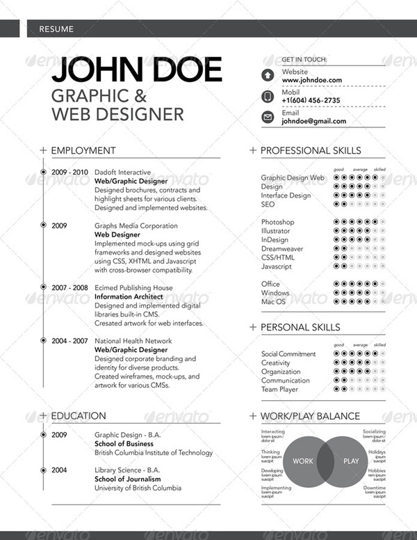 Minimal Resume CV Template Graphic resume, Resume styles and Cv - graphic artist resume examples
