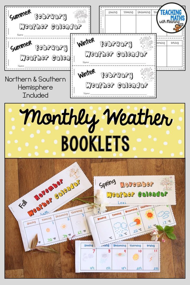 Monthly Weather Calendar Books School Projects Pinterest
