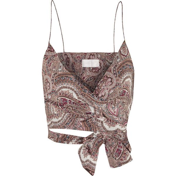 Zimmermann Epoque paisley-print cotton-voile wrap top ($335) ❤ liked on Polyvore featuring tops, crop top, shirts, burgundy, long crop tops, crop shirts, burgundy crop top, wrap shirt and paisley shirt