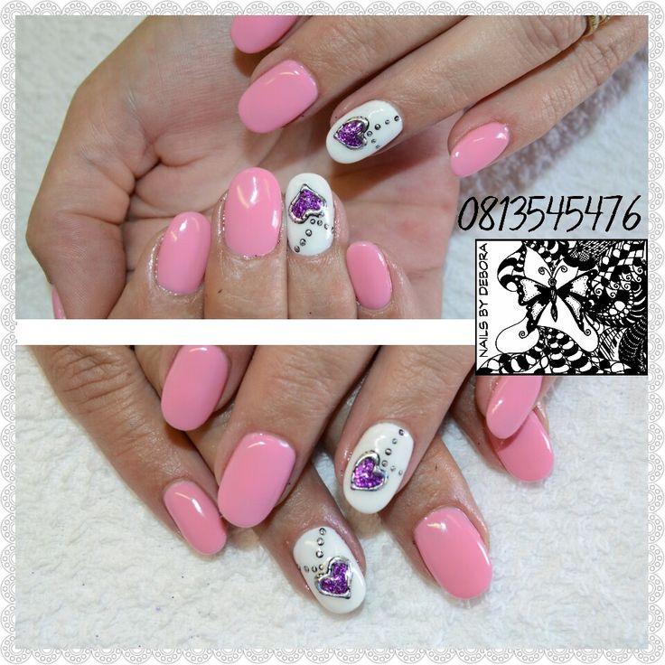 #pinkNails #heartlocket #gelFoil
