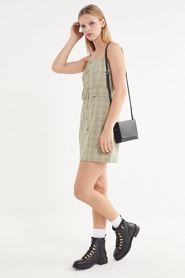 da5280e27bbe UO Belted Gingham Button-Down Mini Dress | Buys | Dresses, Gingham, Mini