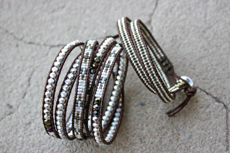 Создаем браслет-намотку из чешских граненых бусин и японского бисера - Ярмарка Мастеров - ручная работа, handmade