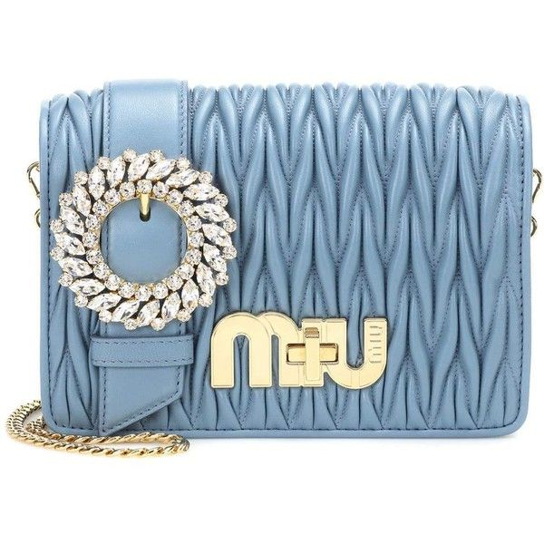 Miu Miu Matelasse Leather Shoulder Bag ($2,155) ❤ liked on Polyvore featuring bags, handbags, shoulder bags, blue, real leather purses, genuine leather purse, shoulder bag purse, shoulder hand bags and blue purse