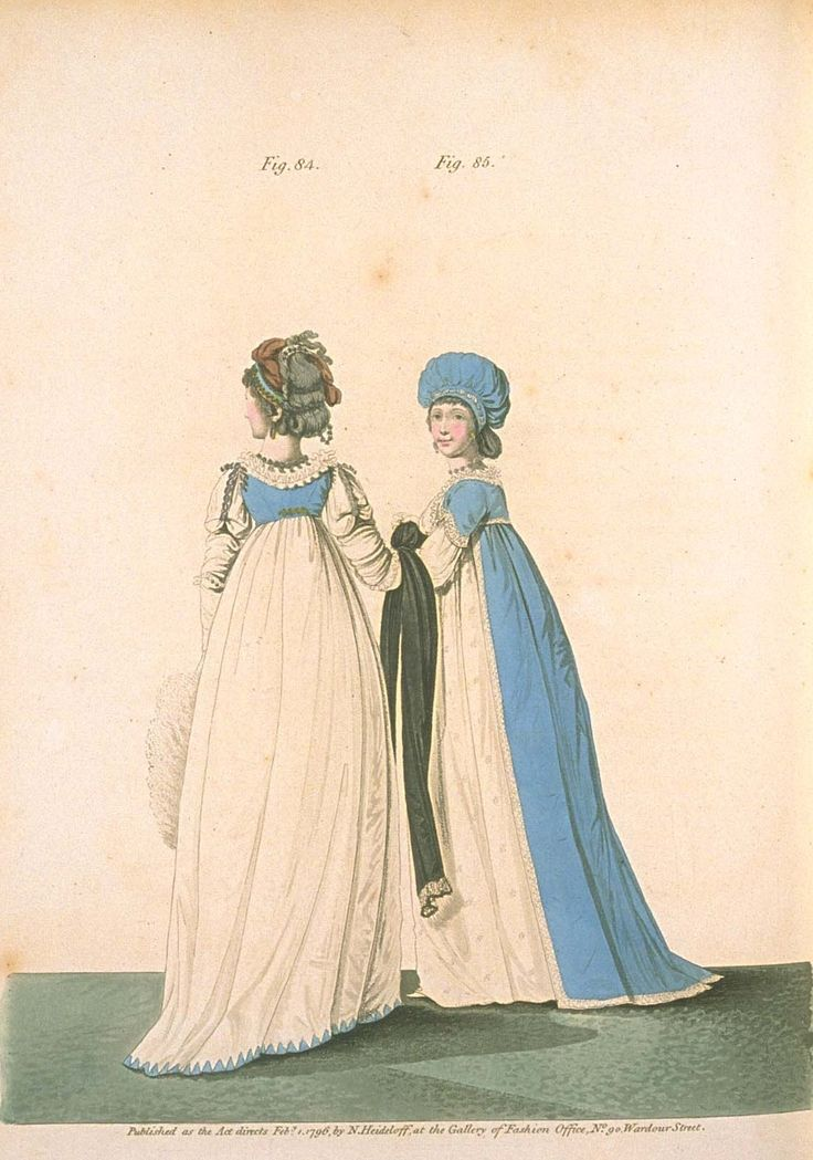Gallery of fashion February 1796 - Afternoon dresses