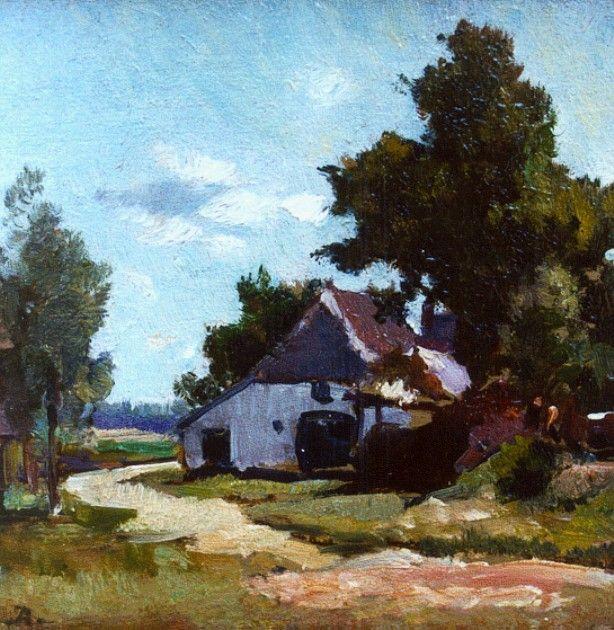 'Johannes Evert' Hendrik Akkeringa (Blinjoe (Nederlands-Indië) 1861-1942 Amersfoort) Boerderij in een zomers landschap - Kunsthandel Simonis en Buunk, Ede (Nederland).