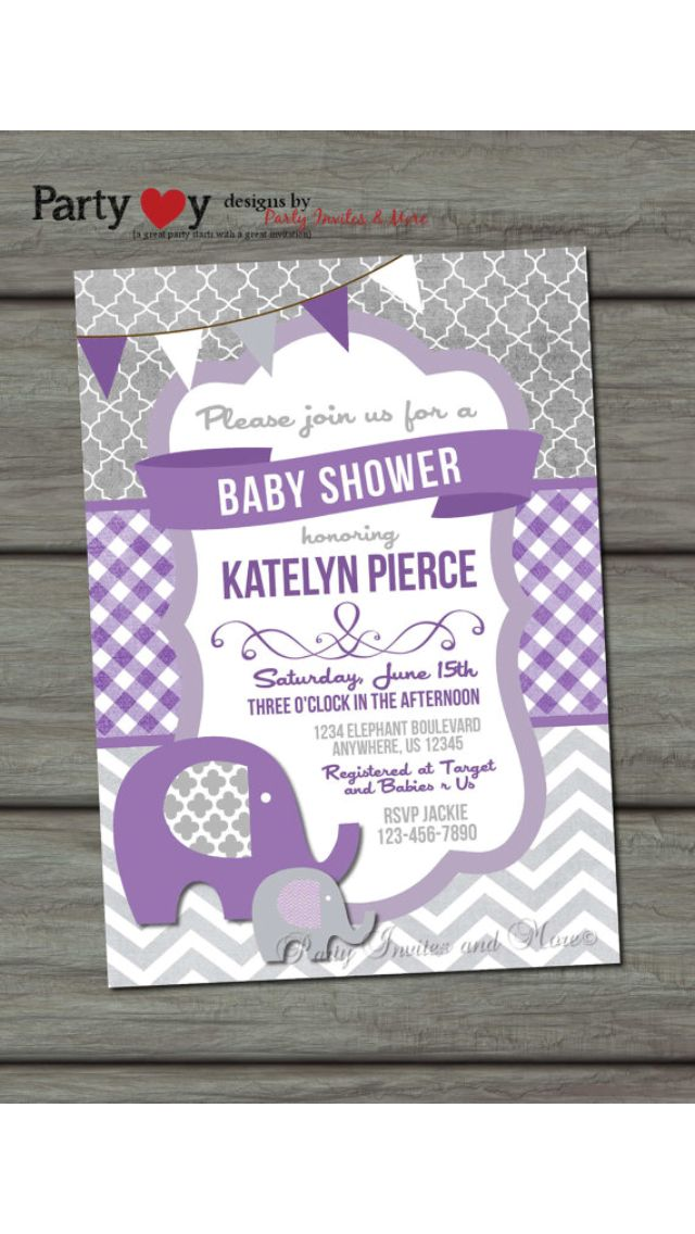 Grey and purple baby shower invite