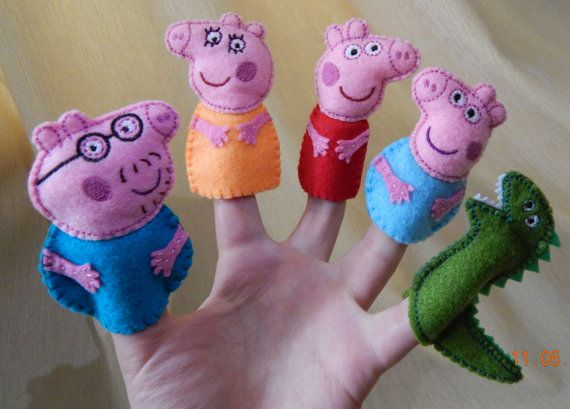 Peppa pig family finger puppets. Felt finger puppets. Finger family. Animal…