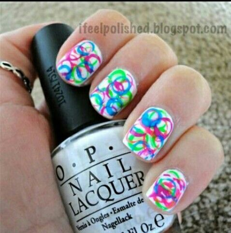 Paint your nails white and add some cirkels whit a straw