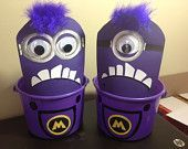 Despicable Me Purple Minions Birthday Party Treat Bags Goody Buckets