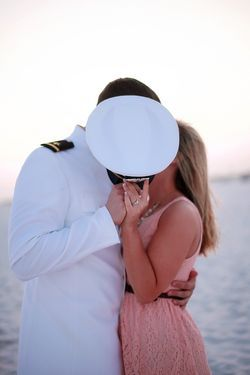 Cute military photo with his hat giving a private moment...