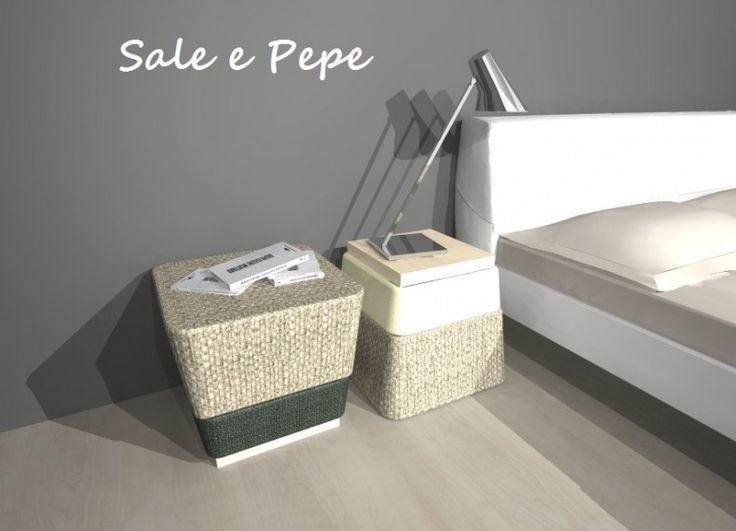 Formabilio - SALE & PEPE è semplicemente un pouf contenitore, o un tavolino... o un comodino. Ha struttura interna e base in multistrato di betulla, imbottitura in poliuretano espanso e rivestimento esterno in tessuto sfoderabile. Può essere utilizzato come pouf o, ribaltandolo, come comodino o tavolino, usando la base in legno come ripiano.
