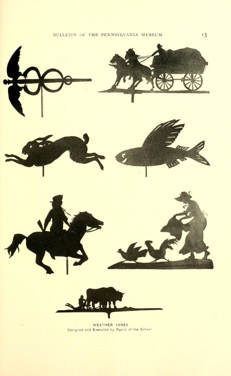 Weather Vanes. Designed and executed by pupils of the school.    Bulletin of the Pennsylvania Museum    Philadelphia: Pennsylvania Museum and School of Industrial Art, 1918